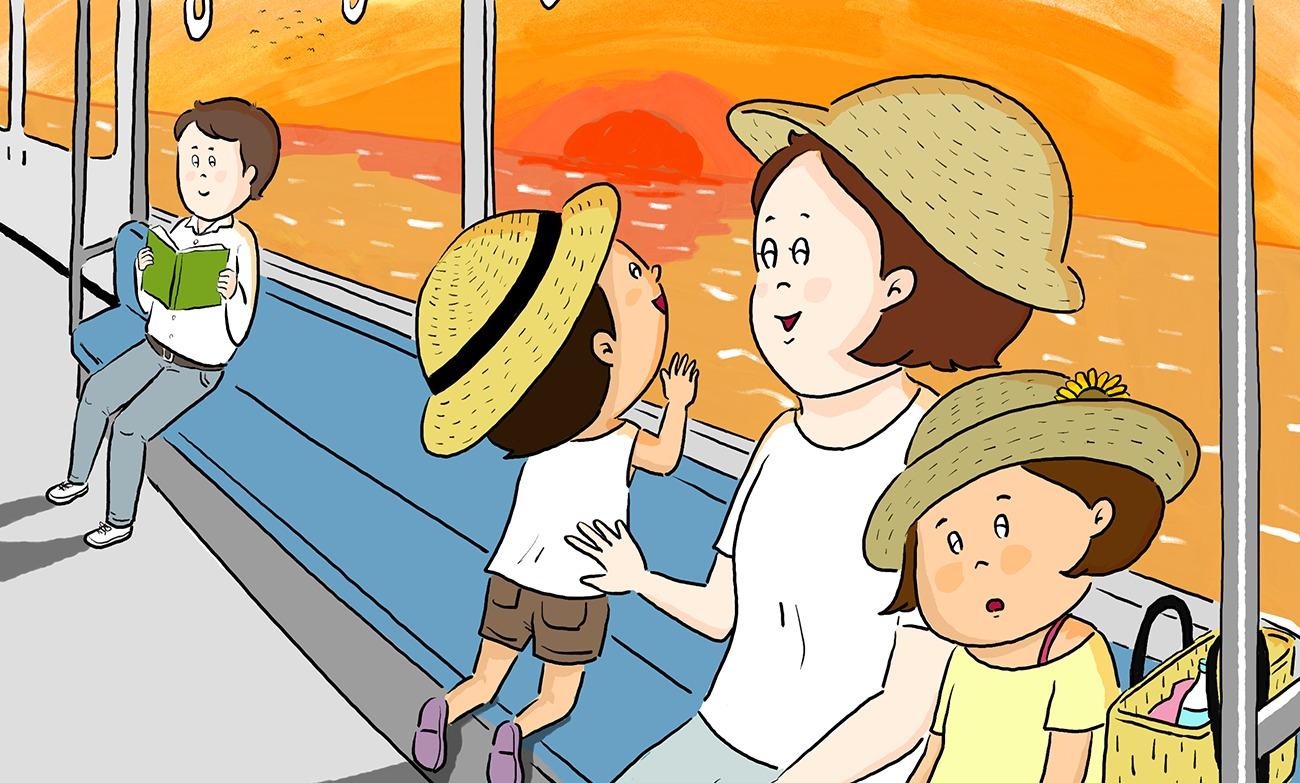 ひとりおやの親子が電車で旅行から帰ってくるシーン